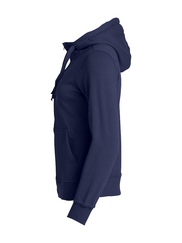 021035_BasicHoodyFullZip_LAdies_clique, new wave, 109 t-shirts, sweat, full zip, sweatshirt, capuche, smartphone system, qualite, tendance, poches, oeillet, ajuste