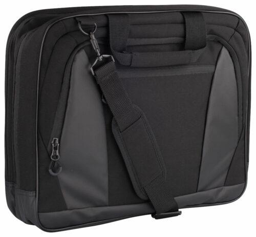 040248_computer bag 2.0 - Elégante sacoche professionnelle - 3 compartiments importants a/ séparation interne matelassée pour protection ordinateur portable - Nombreuses poches internes pour rangement - 2 poignées + bretelle d'épaule a/ porte-cartes intégré- sangle d'accroche valise au dos - 40x32x11cm - 14L - clique - 109 t-shirts