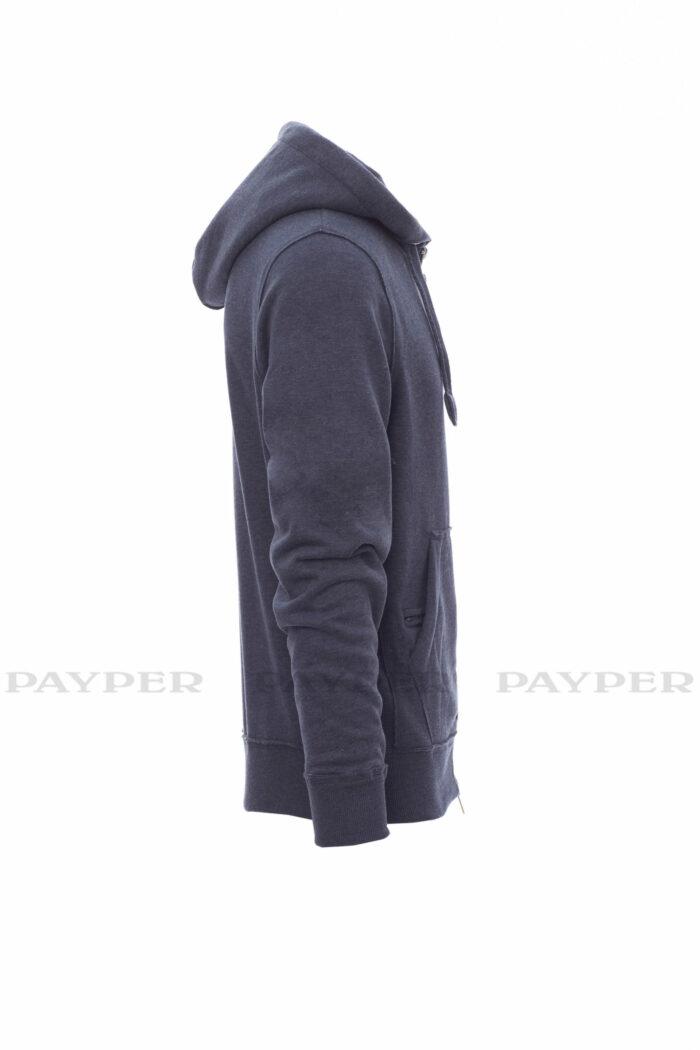 Sweat-shirt pour homme à zip intégral SBS en métal avec double curseur, capuche à deux coutures et coulisse avec cordon blanc à coutures assorties au sweat-shirt et anneaux en métal, poches kangourou, petite poche avec zip et prédisposition pour câble mp3/portable, poignets et taille en bord côtes élastique, coutures renforcées, finitions d'inspiration vintage - payper, london, 109 t-shirts