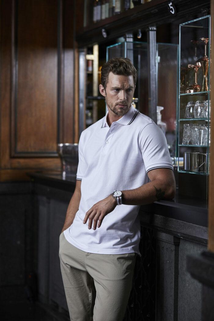 1407_Luxury Stripe Stretch Polo, Homme, Mini Piqué -Double pré-rétréci -Col en tricot plat rayé avec élasthanne -Bande de propreté -Patte de boutonage soignée -Bords des manches rayés, 109 t-shirts, Tee Jays
