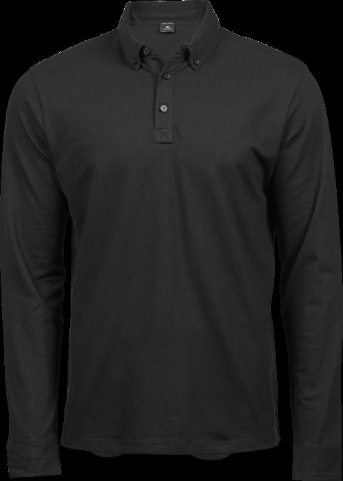 1412_Fashion Long Sleeve Luxury Stretch Polo, Homme, Manches Longues, Mini Piqué -Double pré-rétréci -Col en tricot plat rayé avec élasthanne -Bande de propreté -Patte de boutonage soignée -Bords des manches rayés, Tee Jays, 109 t-shirts