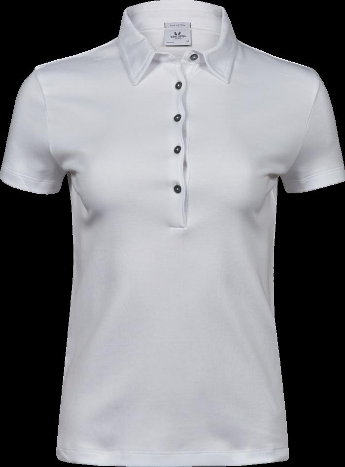 1441_Pima_Polo_Femme, Prérétréci deux fois -lavé aux enzymes -Col de même matériau et patte de boutonnage étroite avec logo en boutons anthracite perlés -Renforts d épaules -Coupe ajustée., Tee Jays, 109 t-shirts