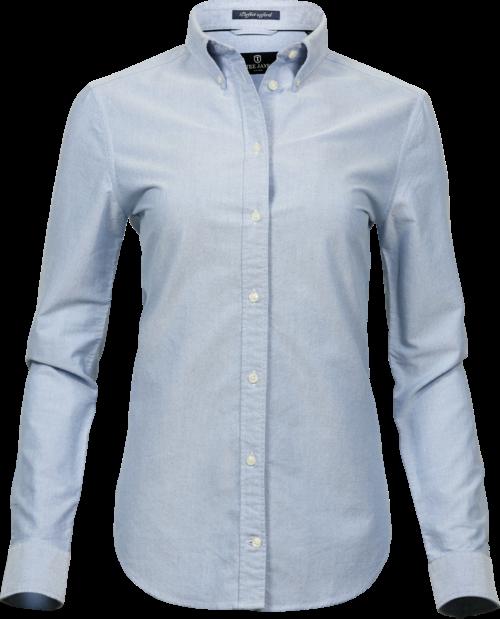 4001_Perfect Oxford Shirt, Chemise Femme, vêtement teint et lavé col boutonné col et poignets incorporés empiècement au dos avec pli creux boucle de suspension intérieure ourlet incurvé coupe ajustée, Tee Jays, 109 t-shirts